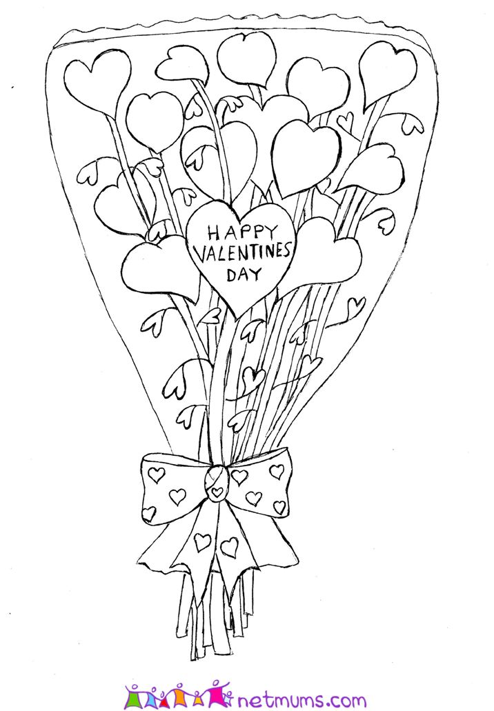coloring pages of flowers and hearts. Bouquet of Flowers