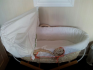 Mamas and Papas Elfie and Mop Moses basket with stand and 2 white flat sheets